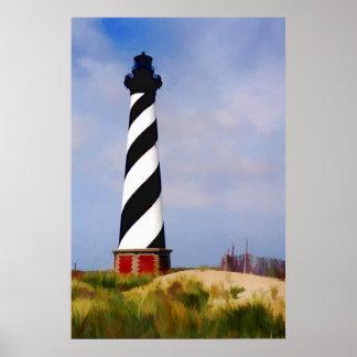 Phare chez le Cap Hatteras la Caroline du Nord Affiche