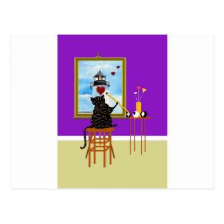 Phare de peinture de chat+Coeurs Carte Postale