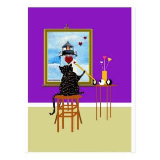 Phare de peinture de chat+Coeurs Cartes Postales