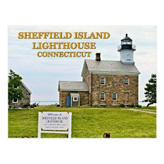 Phare d'île de Sheffield, le Connecticut Carte Postale