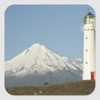 Phare et Mt Taranaki/Mt d'Egmont de cap Sticker Carré