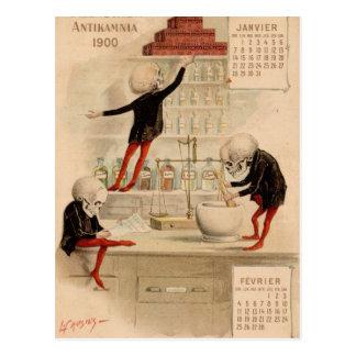 Pharmacie squelettique carte postale