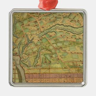 Philadelphie 5 ornement carré argenté