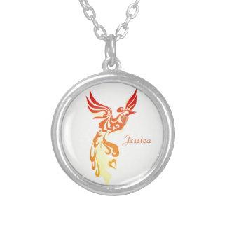 Phoenix ardent élégant personnalisé pendentif rond