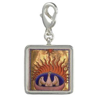 Phoenix d'or se levant des cendres breloque avec photo