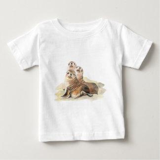 Phoques curieux mignons, animaux d'aquarelle t-shirt pour bébé
