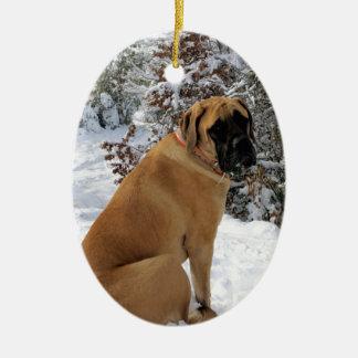 """Photo anglaise de """"pose de neige"""" de chien de ornement ovale en céramique"""