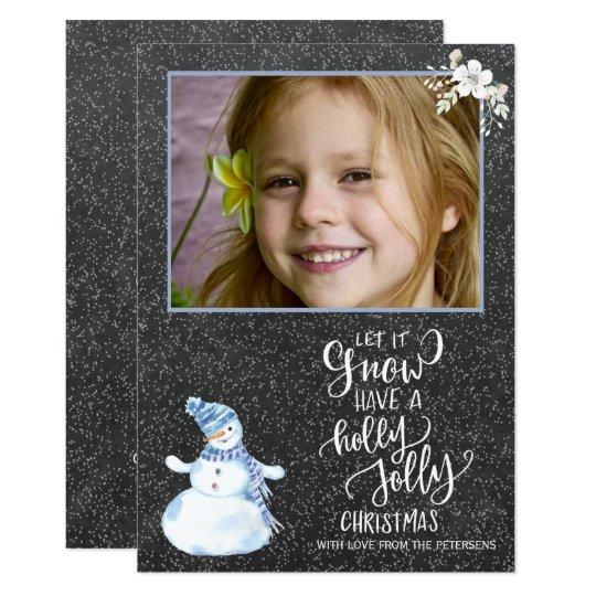 Photo blanche bleue de bonhomme de neige de carton d'invitation  12,7 cm x 17,78 cm