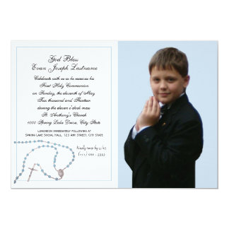 Photo bleue de communion de chapelet carton d'invitation  12,7 cm x 17,78 cm