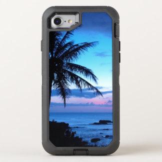 Photo bleue de coucher du soleil d'île de plage de coque otterbox defender pour iPhone 7