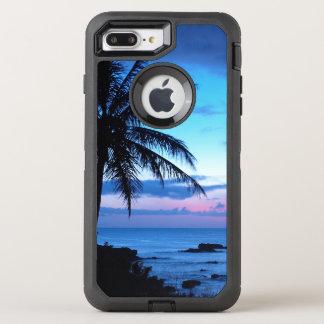 Photo bleue de coucher du soleil d'île de plage de coque otterbox defender pour iPhone 7 plus