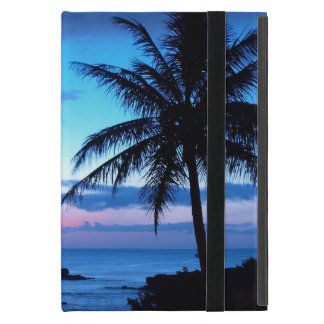 Photo bleue de coucher du soleil d'île de plage de étui iPad mini