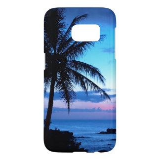Photo bleue de coucher du soleil d'île de rose coque samsung galaxy s7