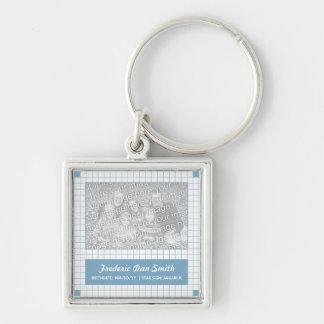 Photo bleue de grille porte-clé carré argenté