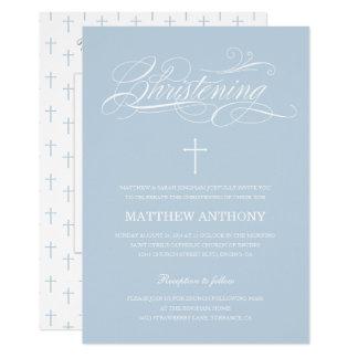 Photo bleue élégante de baptême du baptême   carton d'invitation  12,7 cm x 17,78 cm