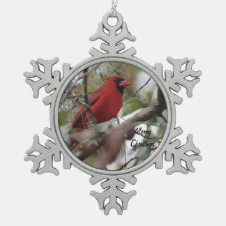 Photo cardinale de personnaliser Nice Ornement Flocon De Neige Pewter