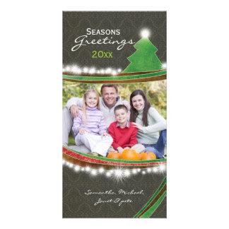 Photo chic de Noël de Joyeuses Fêtes de damassé Cartes De Vœux Avec Photo