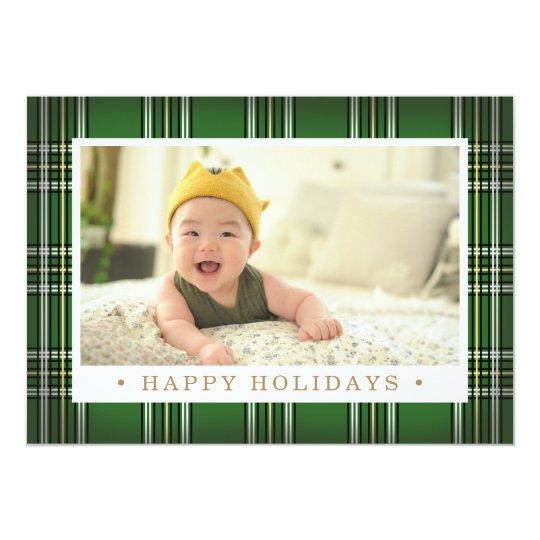 Photo classique verte de vacances du plaid | carton d'invitation  12,7 cm x 17,78 cm