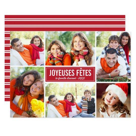 Photo Collage de Noël Carte de Voeux | en Rouge