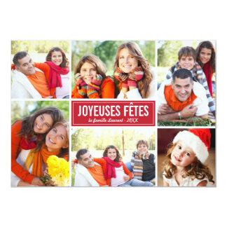 Photo Collage de Noël Carte de Voeux   en Rouge Carton D'invitation 12,7 Cm X 17,78 Cm