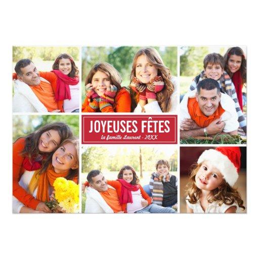 Photo Collage de Noël Carte de Voeux | en Rouge Faire-parts