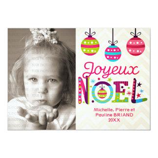 Photo colorée moderne de Joyeux Noël Carton D'invitation 12,7 Cm X 17,78 Cm