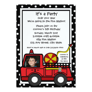 Photo d'amusement de pompe à incendie carton d'invitation  12,7 cm x 17,78 cm