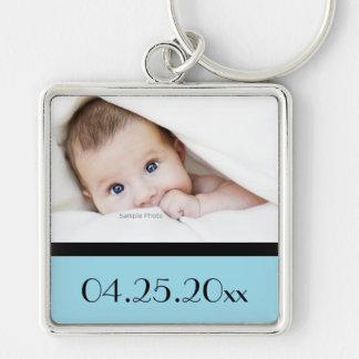 photo de bébé et date de naissance porte-clé carré argenté