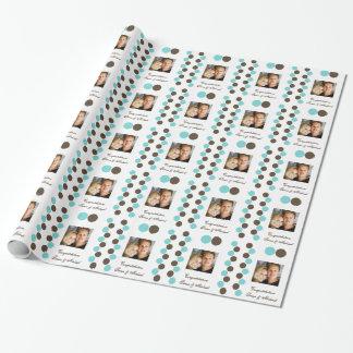 Photo de brun bleu de pois papier cadeau noël