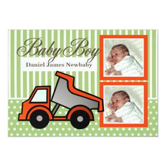 Photo de camion à benne basculante de bébé carton d'invitation  12,7 cm x 17,78 cm
