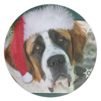 Photo de chien de St Bernard de Noël Assiettes