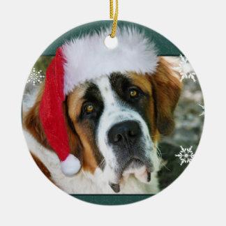Photo de chien de St Bernard de Noël Ornement Rond En Céramique