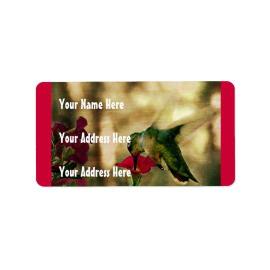 Photo de colibri étiquette d'adresse
