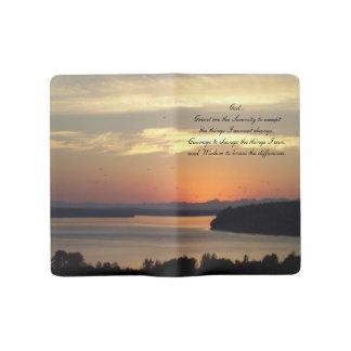 Photo de coucher du soleil de paysage marin de grand carnet moleskine