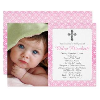 Photo de croix d'anneaux d'éternité de fille du carton d'invitation  12,7 cm x 17,78 cm