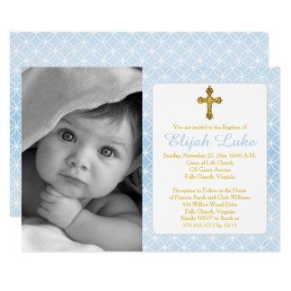 Photo de croix d'or d'anneaux d'éternité de garçon carton d'invitation  12,7 cm x 17,78 cm