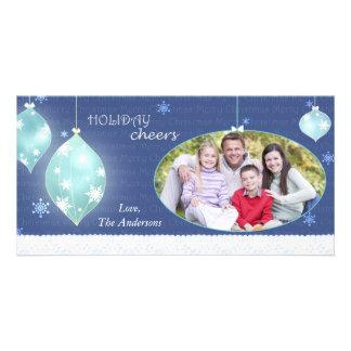 Photo de famille bleue de Joyeux Noël d'hiver à la Photocarte Personnalisée