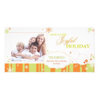 Photo de famille joyeuse de birdie d hiver bonnes photocarte customisée