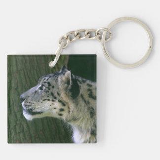 Photo de léopard de neige belle, cadeau porte-clé carré en acrylique double face
