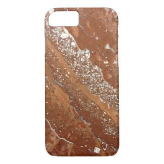 Photo de marbre de Brown, rouge et blanche Coque iPhone 7