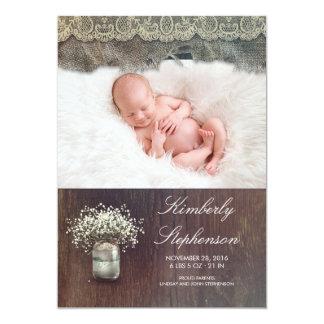 Photo de naissance de bébé de pot de maçon du carton d'invitation  12,7 cm x 17,78 cm