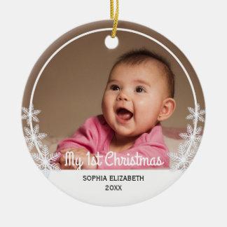 Photo de Noël du bébé des flocons de neige I Ornement Rond En Céramique