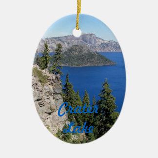 Photo de parc national de lac crater ornement ovale en céramique
