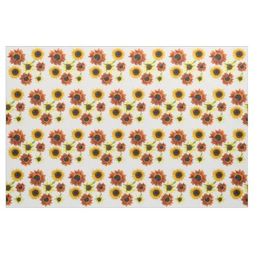 Photo de tissu floral de tournesols jaune-orange