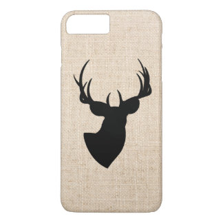 Photo de toile de jute de silhouette de cerfs coque iPhone 7 plus