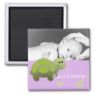 Photo de tortue de bébé magnet carré
