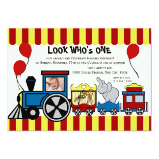 Photo de train de cirque carton d'invitation  12,7 cm x 17,78 cm