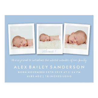 Photo de triple de faire-part de naissance de bleu cartes postales