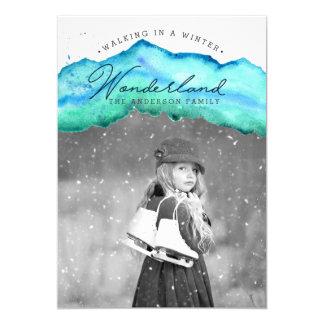 Photo de vacances d'aquarelle du pays des carton d'invitation  12,7 cm x 17,78 cm