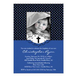 Photo d'invitations de baptême de baptême bleue et